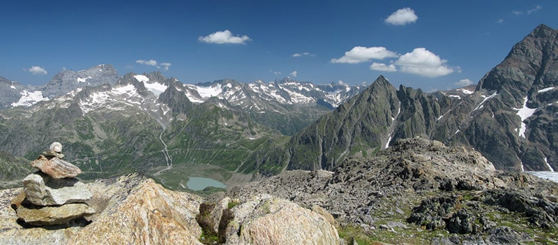 panoramic view of summits in the Swiss Alps