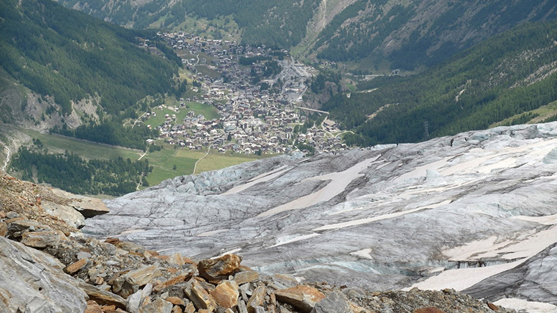 Fee Glacier and Saas-Fee in the valley
