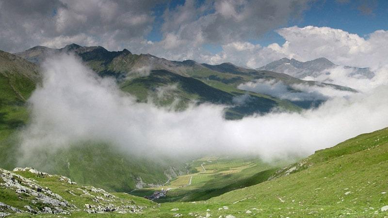 above clouds in Juf, the highest village of Switzerland