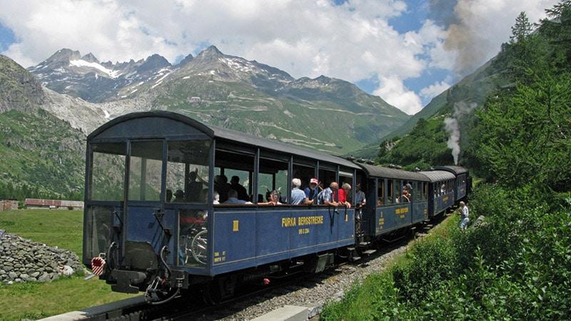 Furka train in Rhone Valley