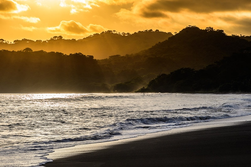 Sunset on Pacific coast from Playa Venao, Panama